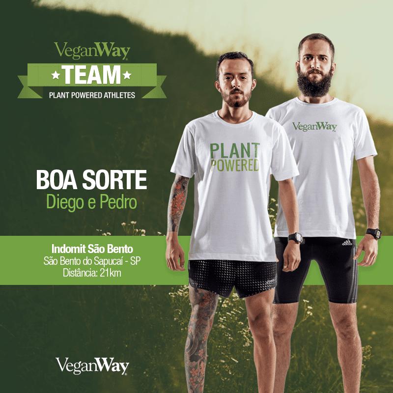 Diego Brandão e Pedro Lutti nosso atletas veganso competem no Indomit São Bento a VeganWay deseja boa sorte